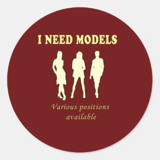 Female bikini models classic round sticker
