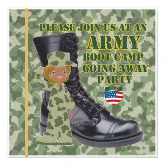 Female Black Soldier Boot Camp Going Away Card