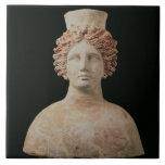 Female bust with kalathos from Ibiza, 5th century Large Square Tile