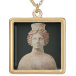 Female bust with kalathos from Ibiza, 5th century Square Pendant Necklace