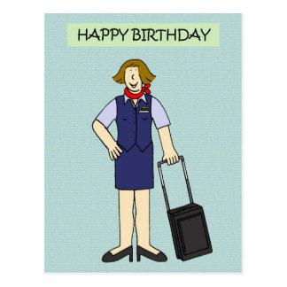 Female Cabin crew Birthday. Postcard