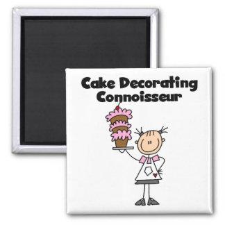 Female Cake Decorating Connoisseur 2 Inch Square Magnet