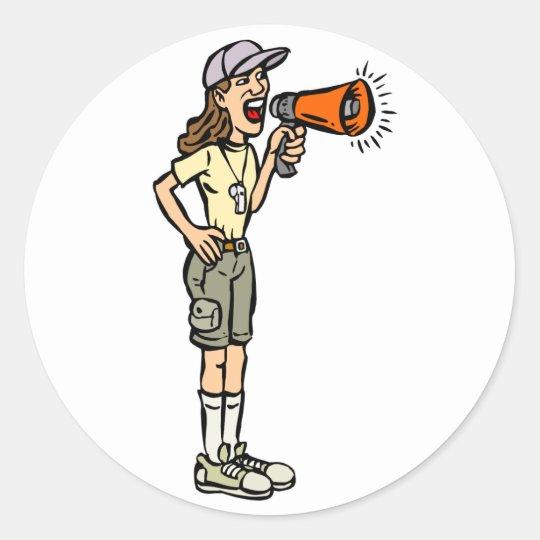 Female Camp Counselor Classic Round Sticker