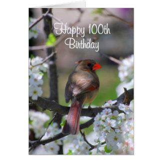 Female Cardinal 100th Birthday Card