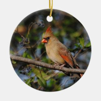 Female Cardinal 4 Ceramic Ornament