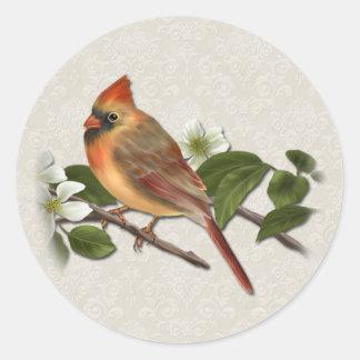 Female Cardinal and Dogwood Sticker