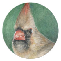 Female Cardinal Bird Art Plate
