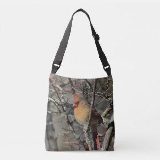 Female cardinal crossbody bag