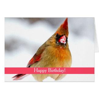 Female Cardinal Custom Birthday Card