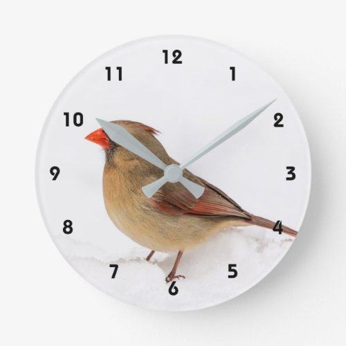 Female Cardinal Round Clock