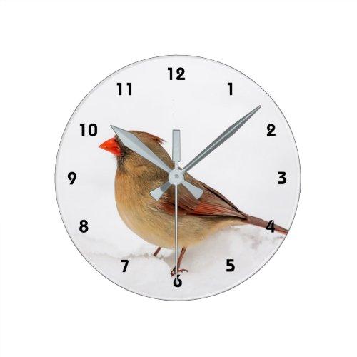 Female Cardinal Round Clock