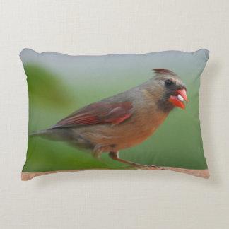 Female cardinal photo accent pillow