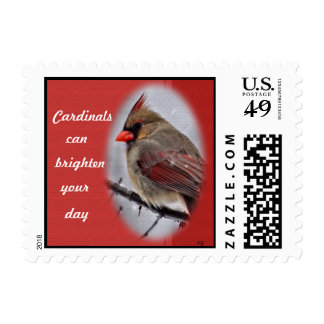 Female Cardinal Postage Stamp-personalize