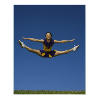 Female cheerleader jumping in air 3 poster