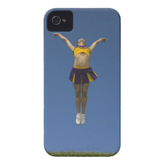 Female cheerleader jumping in air front view iPhone 4 case