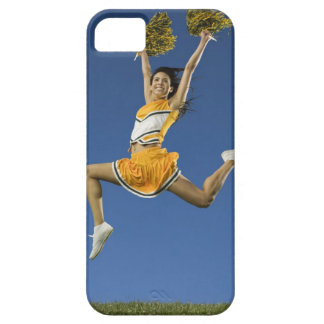 Female cheerleader jumping in air with pompoms iPhone SE/5/5s case