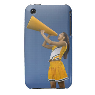 Female cheerleader shouting into megaphone iPhone 3 case