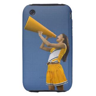 Female cheerleader shouting into megaphone tough iPhone 3 case