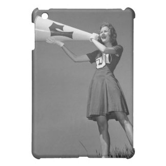 Female cheerleader using mega cover for the iPad mini