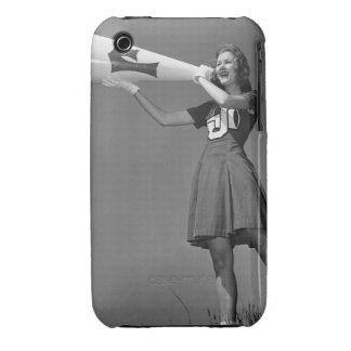 Female cheerleader using megaphone iPhone 3 case