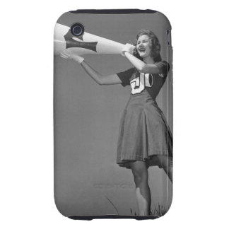 Female cheerleader using megaphone tough iPhone 3 cover