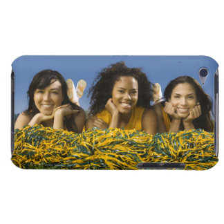 Female cheerleaders lying on grass with pompoms iPod touch cases