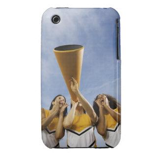 Female cheerleaders shouting through megaphone, iPhone 3 Case-Mate case