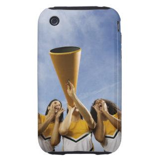 Female cheerleaders shouting through megaphone, iPhone 3 tough case