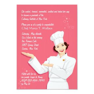 Female Chef Graduation Invitation