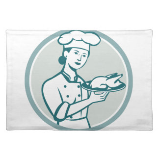 Female Chef Serving Chicken Roast Circle Retro Placemat