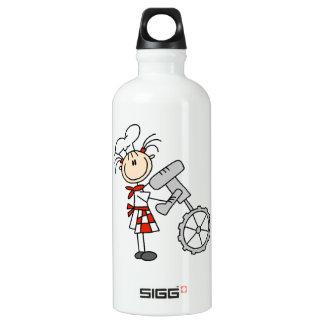 Female Chef Using Mixer Aluminum Water Bottle