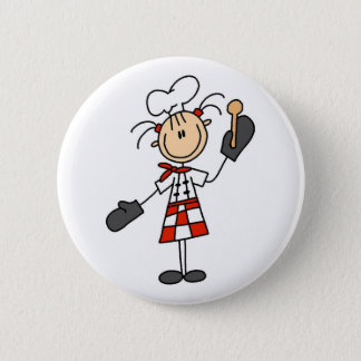 Female Chef With Mitts and Wooden Spoon Button