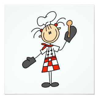 Female Chef With Mitts and Wooden Spoon Card