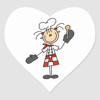 Female Chef With Mitts and Wooden Spoon Heart Sticker
