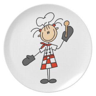Female Chef With Mitts and Wooden Spoon Party Plate