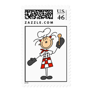Female Chef With Mitts and Wooden Spoon Postage