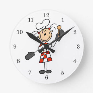 Female Chef With Mitts and Wooden Spoon Round Clock