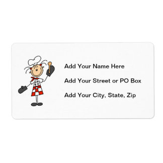 Female Chef With Mitts and Wooden Spoon Shipping Label