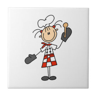 Female Chef With Mitts and Wooden Spoon Tile