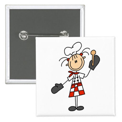 Female Chef with Oven Mitts Tshirts and Gifts 2 Inch Square Button