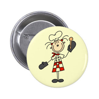 Female Chef with Oven Mitts Tshirts and Gifts Button