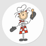 Female Chef with Oven Mitts Tshirts and Gifts Classic Round Sticker