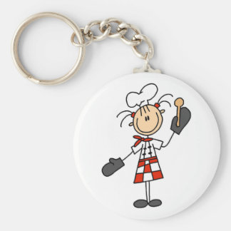 Female Chef with Oven Mitts Tshirts and Gifts Keychain