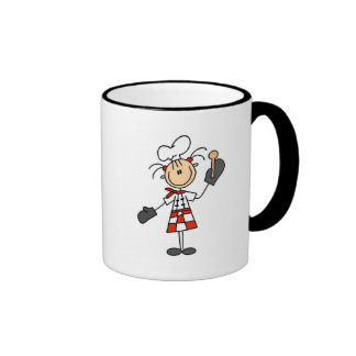 Female Chef with Oven Mitts Tshirts and Gifts Ringer Coffee Mug