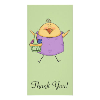 Female Chick with Purple Shirt Holding Basket Card