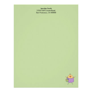 Female Chick with Purple Shirt Holding Basket Letterhead