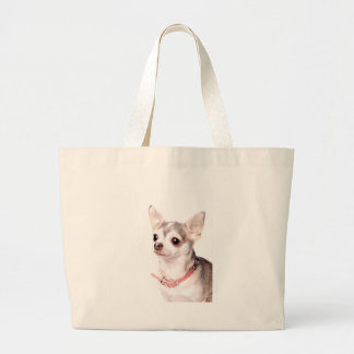 Female chihuahua with pink collar canvas bag