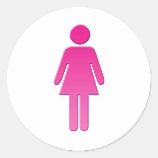 female classic round sticker