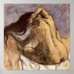 Female combing hair by Edgar Degas Print