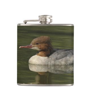 Female Common Merganser red headed sea duck Hip Flask